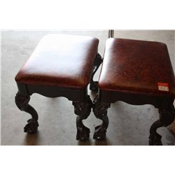 LOT 2 WOOD AND LEATHER CUSHIONED SEATS