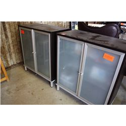 LOT 2 FROSTED GLASS FRONT CABINETS WITH BLACK WOOD FINISH