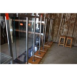 LOT 7 WOOD BASE AND STEEL CLOTHING RACKS