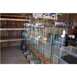 LOT 6 GLASS AND METAL CLOTHING RACKS