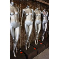 LOT 4 MANNEQUINS AND WOOD STANDS