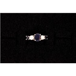 LADYS 14KW RING WITH DIAMONDS AND SAPPHIRES, SIZE 6