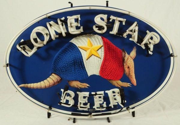 Lone Star Beer Texas Armadillo Neon Sign
