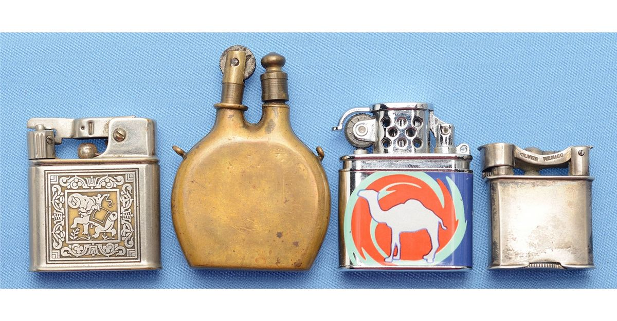 Three WWI Style Trench Lighters and 1 Contemporary Camel Lighter