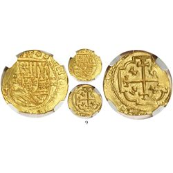 Mexico City, Mexico, cob 2 escudos, (1711-13)J, from the 1715 Fleet, encapsulated NGC MS 64, finest
