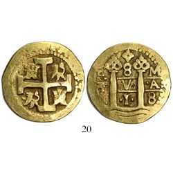 Lima, Peru, cob 8 escudos, 1718M.