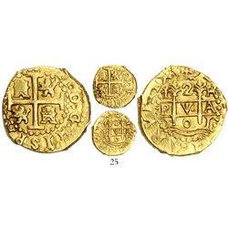 Lima, Peru, cob 2 escudos, 1701H, posthumous Charles II, from the 1715 Fleet, very rare, ex-Ullian.