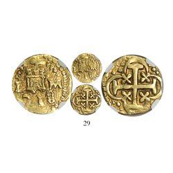 Lima, Peru, cob 1 escudo, 1718M, encapsulated NGC XF 45, Tauler Plate Coin.