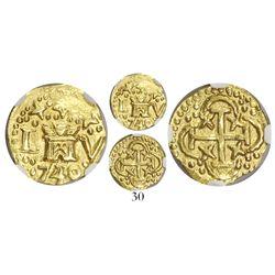 Lima, Peru, cob 1 escudo, 1740/39V, encapsulated NGC AU 53, rare, Tauler Plate Coin.