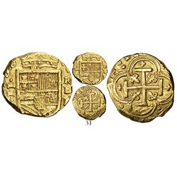 Cartagena, Colombia, cob 2 escudos, 1628E, mintmark RN above assayer E to right, rare.