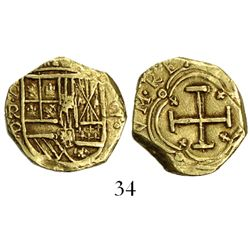 Bogota, Colombia, cob 2 escudos, Philip IV, assayer P below mintmark NR to left (1629).