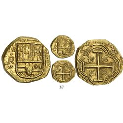 Bogota, Colombia, cob 2 escudos, (16)54R, assayer R to right, mintmark NR to left, from the Maravill