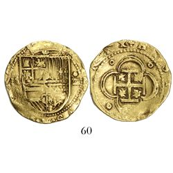 Seville, Spain, cob 4 escudos, Philip II, assayer Gothic D to left below mintmark.