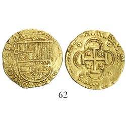 Seville, Spain, cob 2 escudos, Philip II, assayer Gothic D to left, both above and below mintmark.