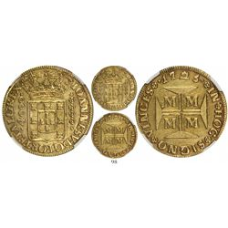 Brazil (Minas mint), 4000 reis, Joao V, 1725-MMMM, encapsulated NGC AU 55, tied for finest known in