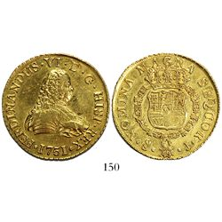 Santiago, Chile, bust 8 escudos, Ferdinand VI, 1751J, from the Luz (1752).