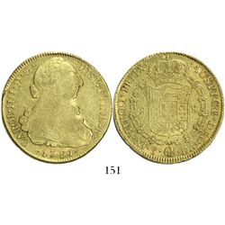 Santiago, Chile, bust 8 escudos, Charles IV (bust of Charles III), 1791DA.