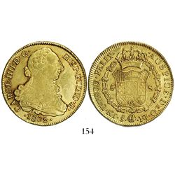 Santiago, Chile, bust 8 escudos, Charles IV (bust of Charles III), 1805FJ.