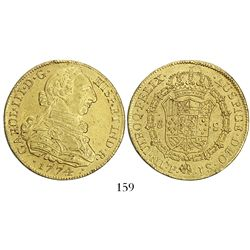 Popayan, Colombia, bust 8 escudos, Charles III, 1774JS, from an unidentified shipwreck, ex-Bir.