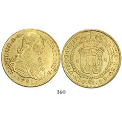 Popayan, Colombia, bust 8 escudos, Charles IV, 1791SF.