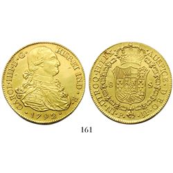 Popayan, Colombia, bust 8 escudos, Charles IV, 1792JF.