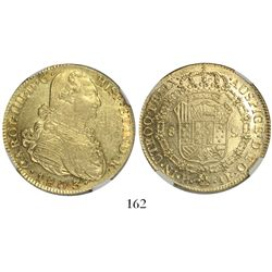 Popayan, Colombia, bust 8 escudos, Charles IV, 1803JF, encapsulated NGC AU 55.