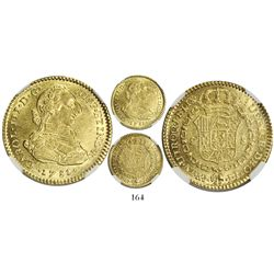Bogota, Colombia, bust 2 escudos, Charles III, 1781JJ, encapsulated NGC MS 61, finest and only known