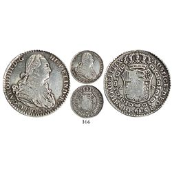 Contemporary counterfeit struck in ungilded platinum of a Popayan, Colombia, bust 2 escudos, Charles