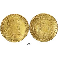 Mexico City, Mexico, bust 8 escudos, Charles III, 1784/3FM (letters facing inward).