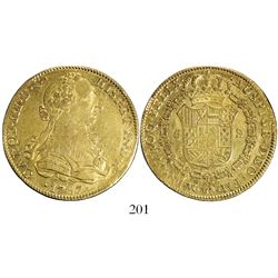 Mexico City, Mexico, bust 8 escudos, Charles III, 1787FM (letters facing inward).
