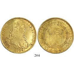 Mexico City, Mexico, bust 8 escudos, Charles IV, 1801/0FT.