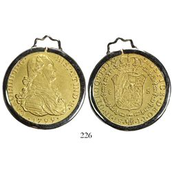 Lima, Peru, bust 8 escudos, Charles IV, 1799IJ, mounted in 18K white-gold pendant-bezel.