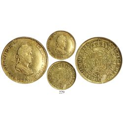 Lima, Peru, bust 4 escudos, Ferdinand VII (small draped bust), 1813JP, encapsulated NGC AU 55, rare.