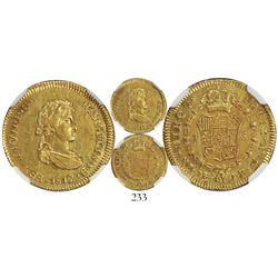 Lima, Peru, bust 1 escudo, Ferdinand VII (small draped bust), 1812JP, encapsulated NGC AU 55, rare.
