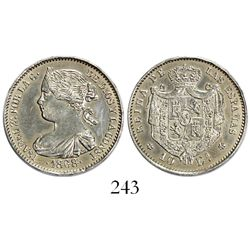 Madrid, Spain, 10 escudos struck in platinum, Isabel II, 1868, with 18-68 in 6-point stars, rare.