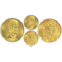 Venezuela, 100 bolivares, 1886, 8 and 6 apart, encapsulated NGC MS 61, tied for second finest known