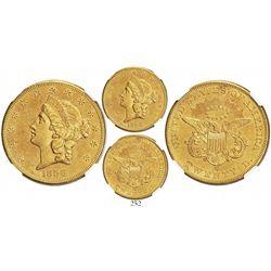 USA (San Francisco mint), $20 coronet Liberty, 1856-S, encapsulated NGC UNC details / sea salvaged,