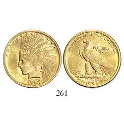 USA (Denver mint), $10 Indian, 1908-D, no motto.