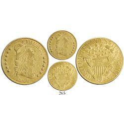 USA (Philadelphia mint), $5 capped-bust Liberty, 1806, round 6, 7+6 stars.