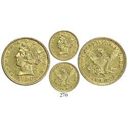 USA (California), Moffat $5 coronet Liberty, 1850.