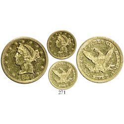 USA (Charlotte mint), $5 coronet Liberty, 1850-C.