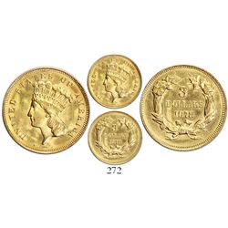 USA (Philadelphia mint), $3 Indian princess, 1878.
