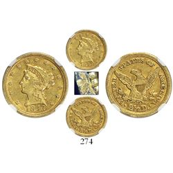 USA (Dahlonega mint), $2.50 coronet Liberty, 1847-D, encapsulated NGC AU 53, with brockage error.