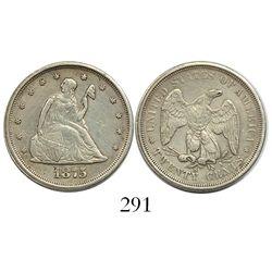 USA (San Francisco mint), 20 cents, 1875-S, mintmark as $.