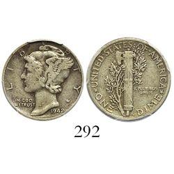USA (Philadelphia mint), Mercury dime, 1942/1, rare overdate, encapsulated NGC VF30.
