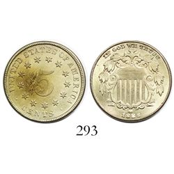 "USA (Philadelphia mint), copper-nickel ""shield"" 5 cents, 1883."