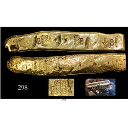 "Colombian cut gold ""finger"" bar from the Atocha (1622), 331.3 grams, 21-1/2K, marked with owner/foun"