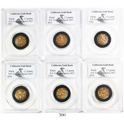 Lot of gold dust in 6 separate PCGS capsules with total weights of 1.5 grams each, from the S.S. Cen