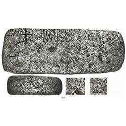 Medium silver bar from the Atocha (1622), 35 lb 4 oz troy, fineness 2340/2400, Class Factor unknown,