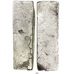 Neatly formed silver ingot from the Slot ter Hooge (1724), 1945 grams, about 98.5% fine, with stamps